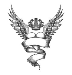Heart with crown and wings tattoo in engraving vector