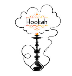 Hookah with a cloud smoke vector