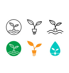 Hydroponics plants logo and symbol design vector