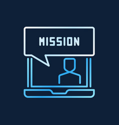 Laptop and mission creative line icon or vector