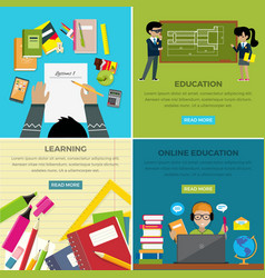 Learning and online education lesson web banner vector