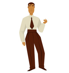 man in 50s retro clothes 1950s fashion isolated vector image