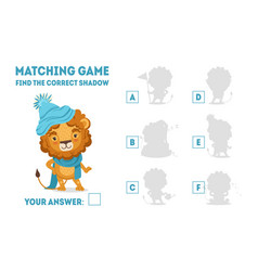 matching game with cute lion wearing knitted hat vector image