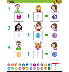 Maths addition educational game with funny kids vector