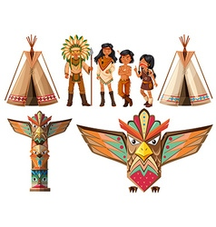 Native american indians and tepee vector