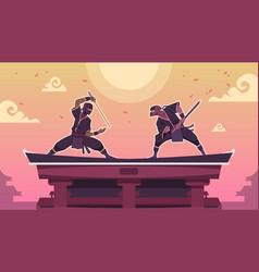 Ninja fight cartoon scene with ancient japanese vector