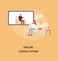 Online family psychologist consultation with mom vector