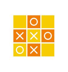 Orange color tic tac toe icon design mini game vector