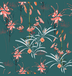 pattern orange lily flowers and protea flowers vector image