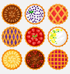 Pies top view baking food delicious apple vector