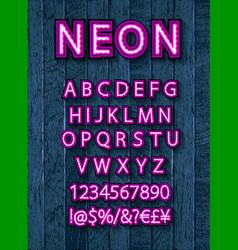 Pink neon font set vector