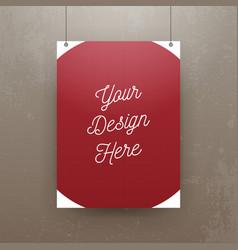 Realistic hanging Paper Sheet Mockup vector image