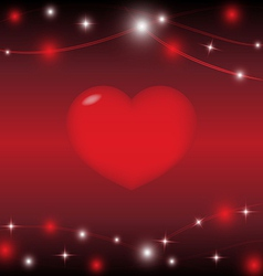 Red heart on red background with light star vector