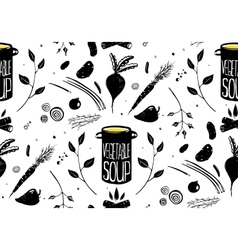 Seamless Pattern Vegetable Soup in Black vector image