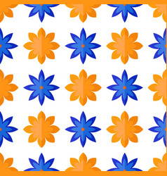 Seamless pattern with flowers in flat style vector