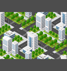 seamless urban plan pattern map isometric vector image