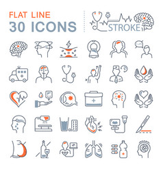 Set flat line icons of stroke vector