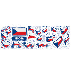 set national flag czechia in vector image