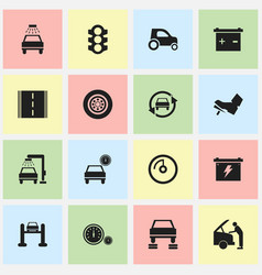 Set of 16 editable traffic icons includes symbols vector