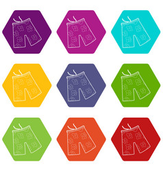 shorts for swimming icons set 9 vector image