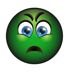 Sick green smiley emoticon with nausea vector