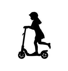 silhouette girl helmet riding scooter vector image