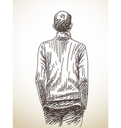 Sketch man from back with hands in his pockets vector