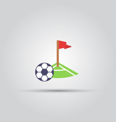 Soccer corner kick and ball isolated icon vector