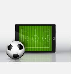 soccer or football in front of an electronic vector image
