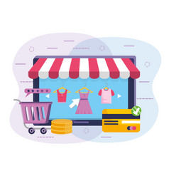 Teblet technology with shopping clothes and credit vector