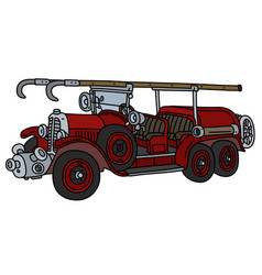 The vintage red fire truck vector
