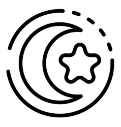 Turkish moon star icon outline style vector