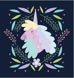 unicorn flowers floral fantasy magic cute cartoon vector image
