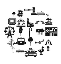 urban recreation park icons set simple style vector image