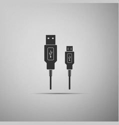 Usb micro cables icon isolated on grey background vector