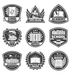 Vintage monochrome education labels set vector