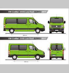Volkswagen crafter passenger bus l2h1l1h1 2011 vector