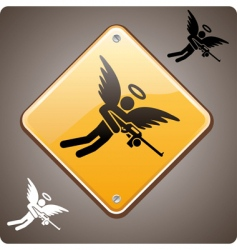 warning armed angel ahead vector image