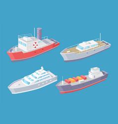 Water transport cargo shipment sea set vector