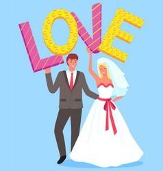 wedding couple holding love letters sign vector image