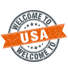 Welcome to usa orange round ribbon stamp vector