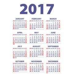 Calendar 2017 Week starts from Sunday flat design vector image vector image