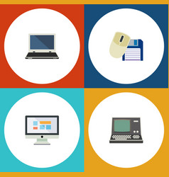 Flat icon laptop set of technology computer mouse vector