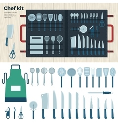 Modern Kitchen Tools for Cooking Chef Kit vector image