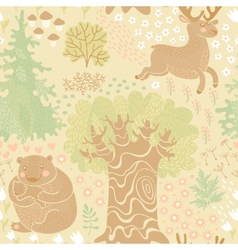Seamless pattern with deer bears in the woods vector