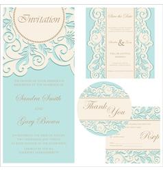 Wedding invitation set vector