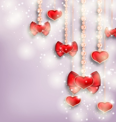 Glowing background with hanging hearts for vector image vector image