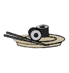 japanese sushi food dish stick culture vector image