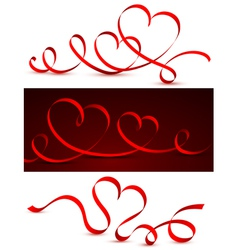red bow heart vector image