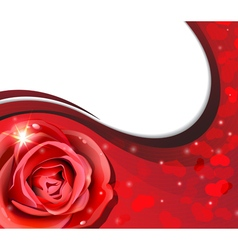 Rose and hearts silhouettes vector image